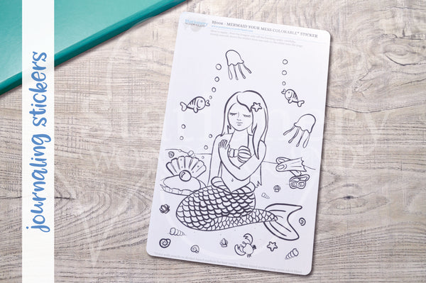Mermaid your mess journaling stickers - Adult coloring journal stickers