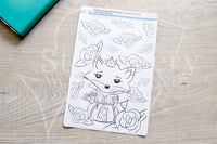 Foxy in Wonderland coverup journaling sticker - Adult coloring journal stickers