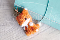 Foxy the fox planner charm, hand crocheted Foxy charm