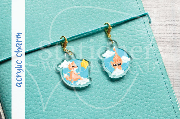 8 bits Foxy planner charm, acrylic Foxy and kitty charm