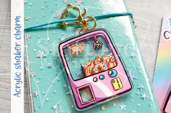 Foxy's carnival planner charm - Foxy and Kitty acrylic shaker charm