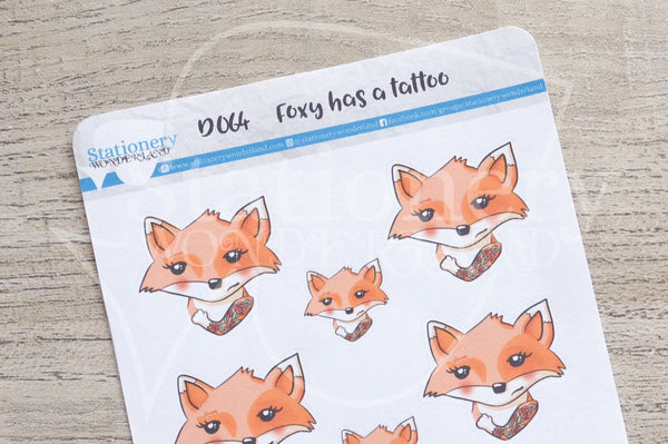 Foxy has a tattoo decorative planner stickers