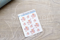 Foxy on her high unicorn decorative planner stickers