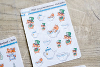 Foxy in Wonderland decorative planner stickers - Alice, Mad Hatter, Queen of Hearts