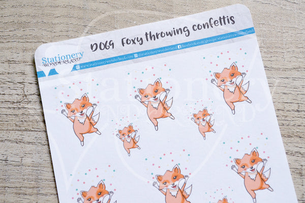 Foxy throwing confettis decorative planner stickers