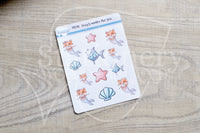 Foxy's under the sea Foxy the merfox decorative planner stickers