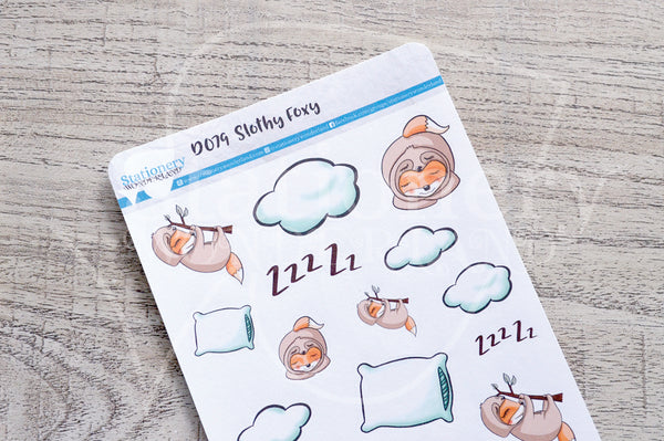 Slothy Foxy decorative planner stickers