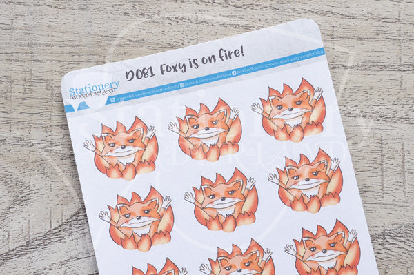 Foxy is on fire decorative planner stickers
