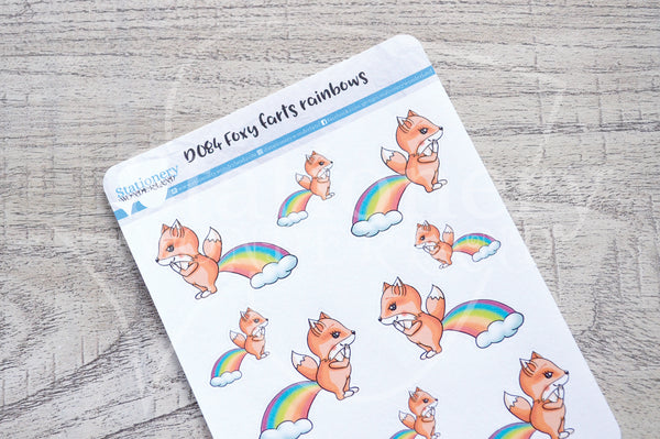 Foxy farts rainbows decorative planner stickers