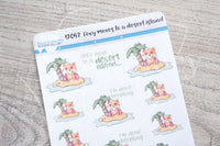 Foxy moves to a desert island decorative planner stickers