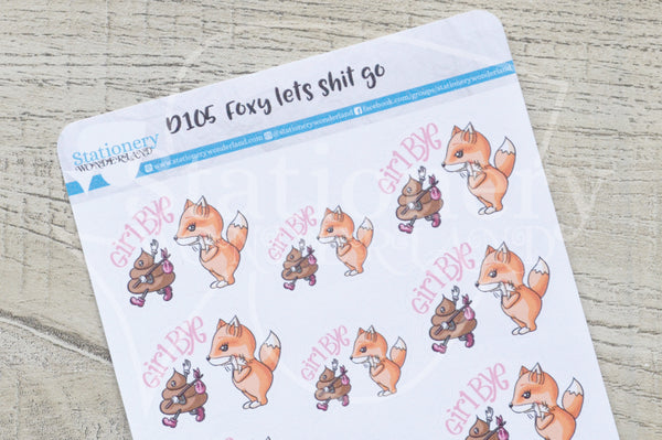 Foxy lets shit go decorative planner stickers