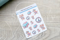 Flower Power Foxy decorative planner stickers