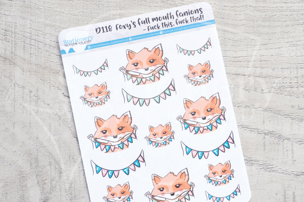 Foxy's full mouth fanions decorative planner stickers - Fuck this, fuck that!