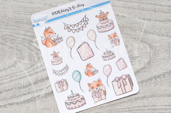 Foxy's B-day decorative planner stickers