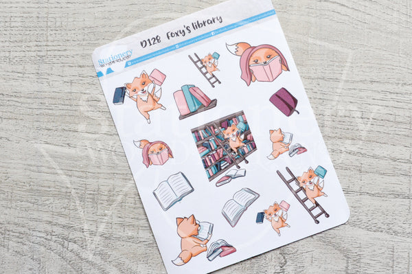 Foxy's library decorative planner stickers
