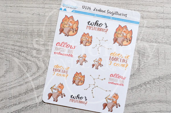 Zodiac Foxy Sagittarius decorative planner stickers