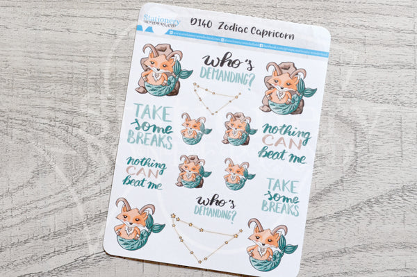 Zodiac Foxy Capricorn decorative planner stickers
