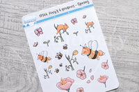 Foxy 4 seasons, Spring decorative planner stickers