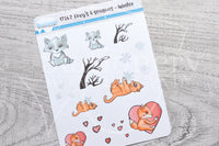 Foxy 4 seasons, Winter decorative planner stickers