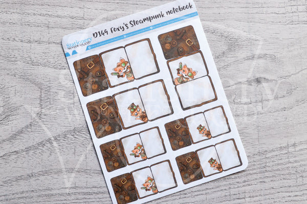 Foxy's steampunk notebook decorative foldover planner stickers