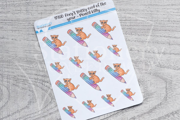 Pencil Kitty decorative planner stickers - Foxy's Sassy End of the Year