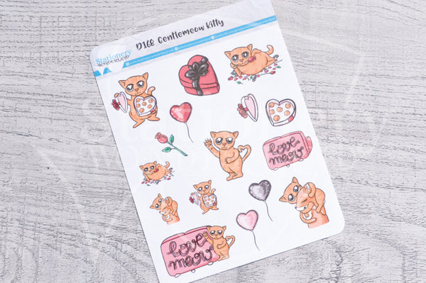 Gentlemeow kitty decorative planner stickers