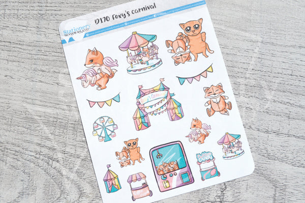 Foxy's carnival decorative planner stickers