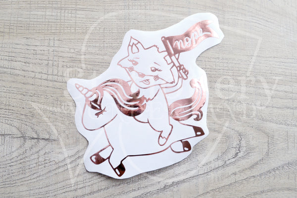Foxy on her high unicorn vinyl decal