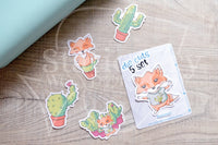 Succulent Foxy die cuts - Foxy cacti embellishments