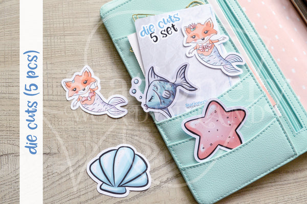 Foxy's under the sea die cuts - Foxy the merfox embellishments