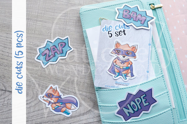 Super Foxy die cuts - Hero Foxy embellishments