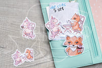 Unicorn tea time Foxy die cuts - Unicorn Foxy embellishments