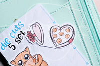 Gentlemeow kitty die cuts - Love kitty embellishments