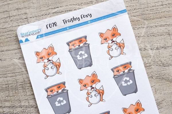 Trashy Foxy, garbage and recycle functional planner stickers