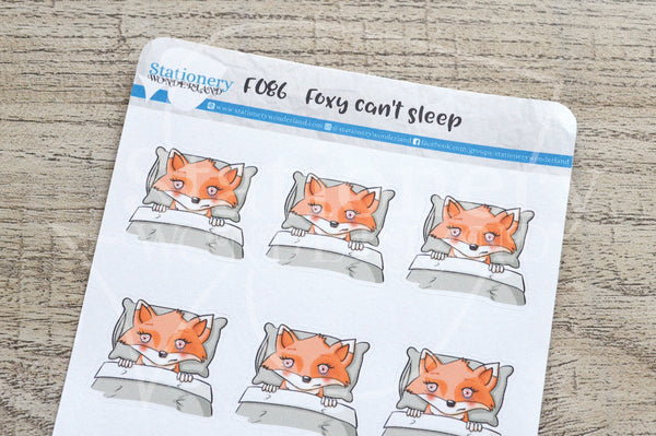 Foxy can't sleep functional planner stickers