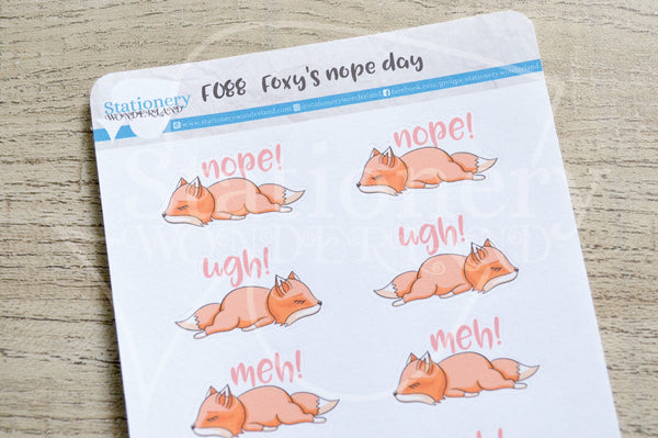 Foxy's nope day functional planner stickers