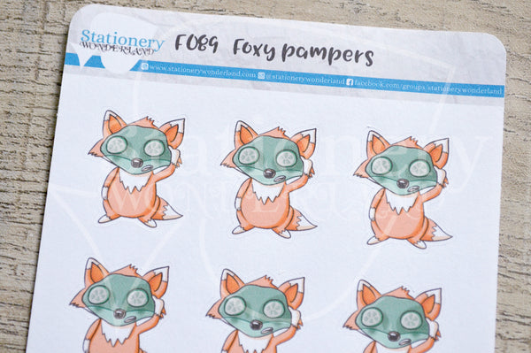 Foxy pampers, facemask functional planner stickers