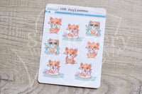 Foxy's summer, vacation functional planner stickers