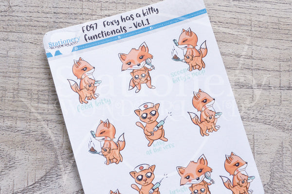 Foxy has a kitty - functionals VOL1. planner stickers