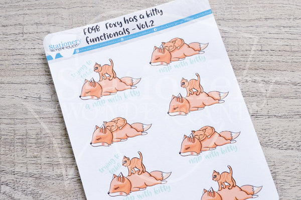 Foxy has a kitty - functionals VOL2. planner stickers