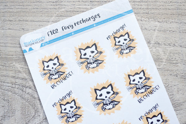 Foxy recharges functional planner stickers