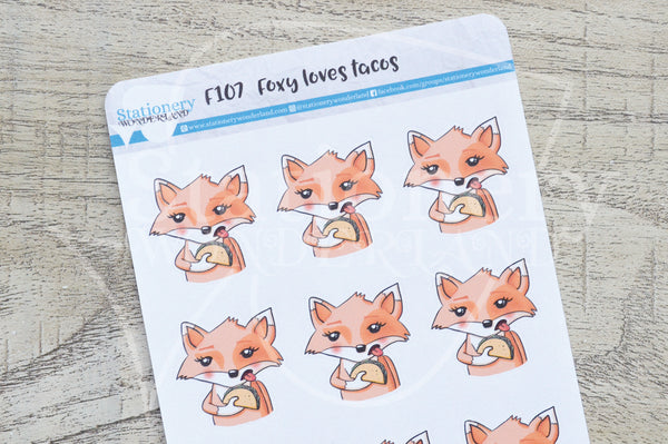 Foxy loves tacos functional planner stickers