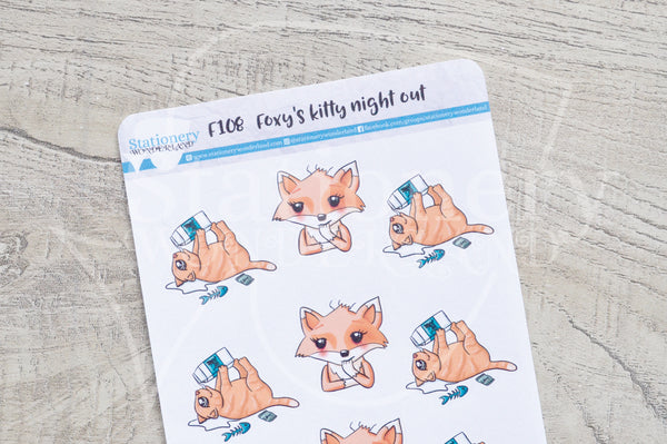 Foxy's kitty's night out functional planner stickers