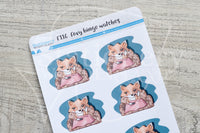 Foxy binge watches functional planner stickers
