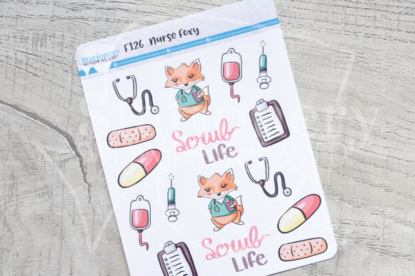 Nurse Foxy functional planner stickers