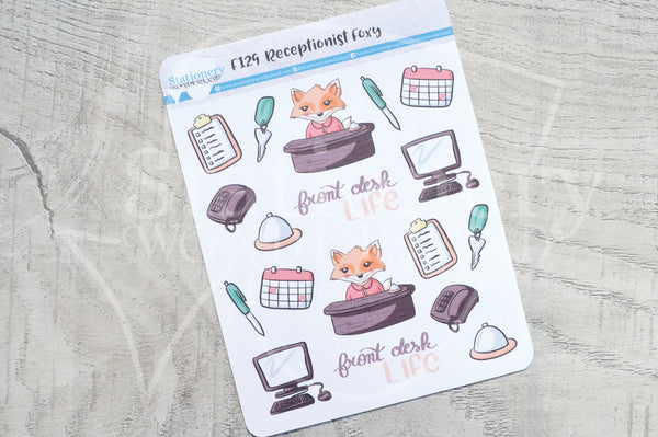 Receptionist Foxy functional planner stickers