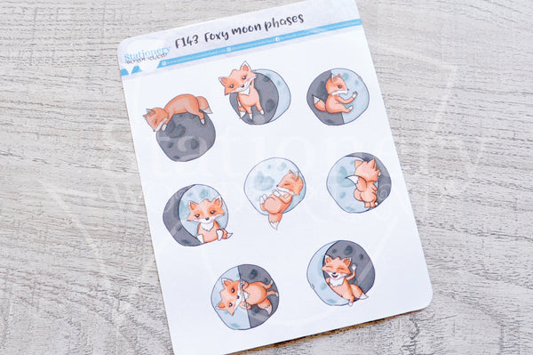 Foxy moon phases functional planner stickers