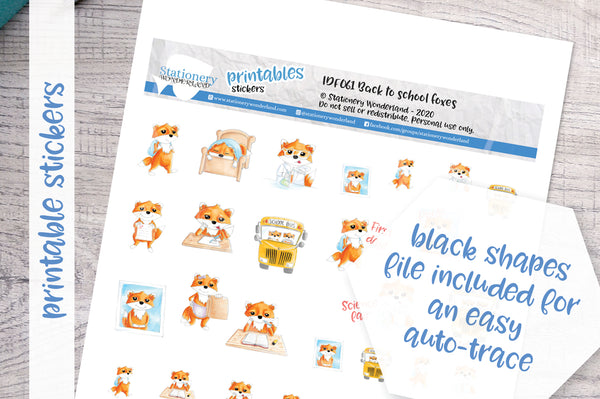 Back to school foxes Printable Functional Stickers