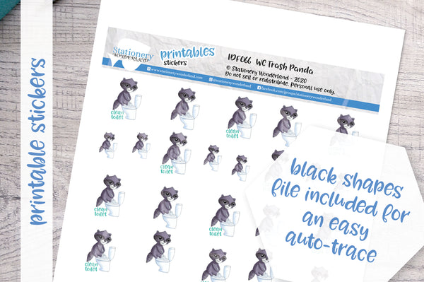 Trash panda wc Printable Functional Stickers