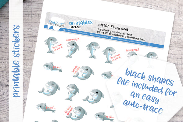 Shark week Printable Functional Stickers